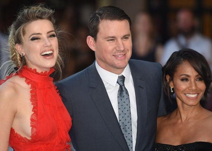 Amber Heard poses with Channing Tatum and Jada Pinkett Smith