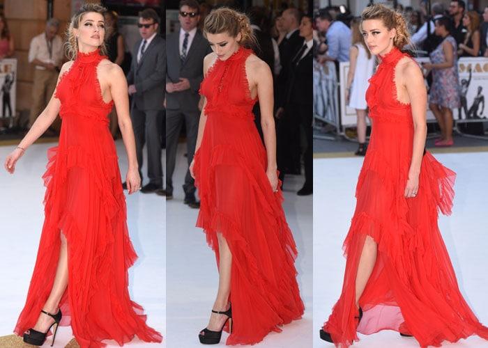 Amber Heard's dramatic red Emilio Pucci ruffled dress