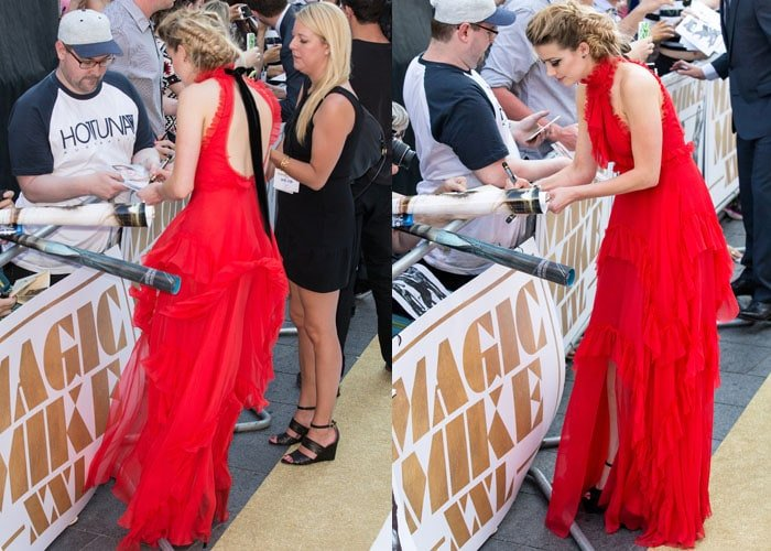 Amber Heard signing autographs at the European premiere of Magic Mike XXL