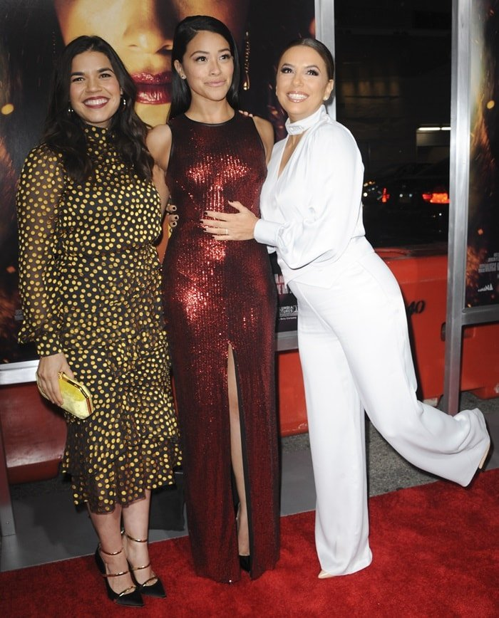 America Ferrera, Gina Rodriguez, and Eva Longoria at the premiere of Miss Bala at Regal LA Live Stadium in Los Angeles on January 30, 2019