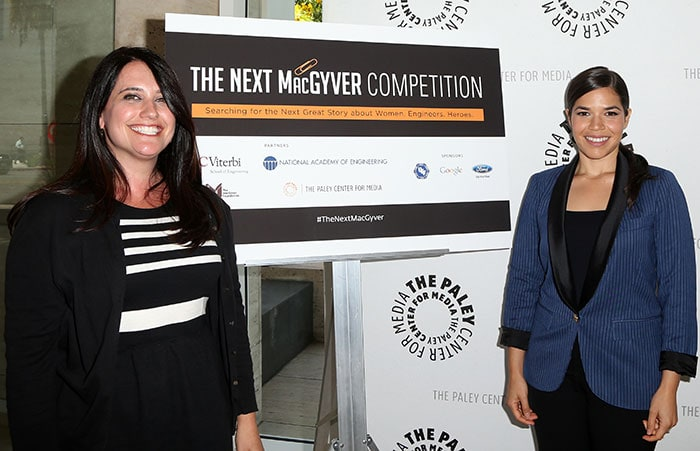 "America Ferrera and Julie Ann Crommett at the Live Pitch Event for ""The Next MacGyver"" in Los Angeles on July 28, 2015"