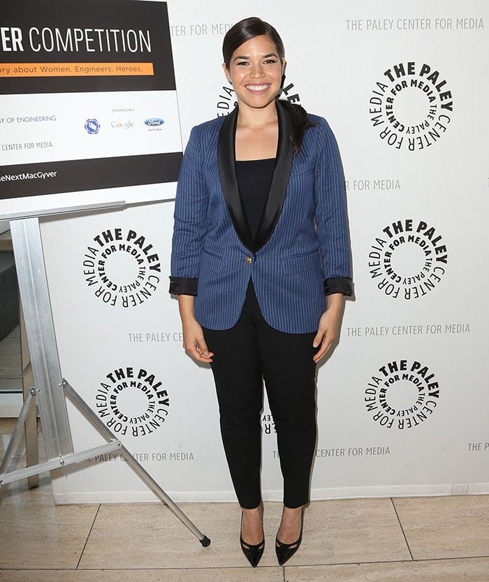 America Ferrera looked classy in a black top and black pants