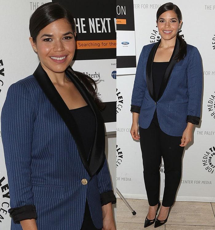 America Ferrera's pinstriped blue tuxedo jacket with black shawl lapels