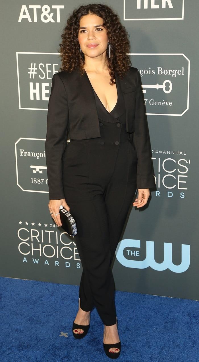 America Ferrera in a black A.L.C. tuxedo jumpsuit at the 2019 Critics' Choice Awards