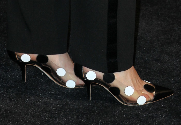 America Ferrera's sexy feet were feeling the pressure in clear plastic shoes