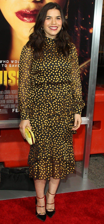 """America Ferrera's sexy legs in a black & yellow polka dot print silk """"Issa"""" dress from Saloni"""