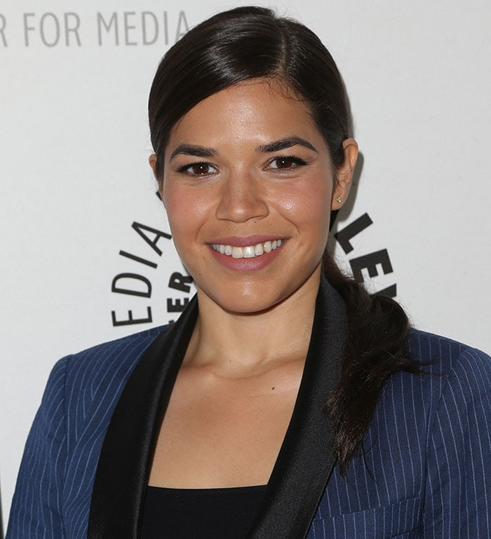 America Ferrera's slicked side-swept ponytail and low-key makeup