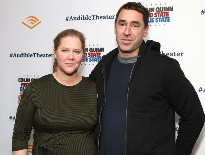 """Amy Schumer and her husband Chris Fischer attend the """"Colin Quinn: Red State Blue State"""" Opening Night"""