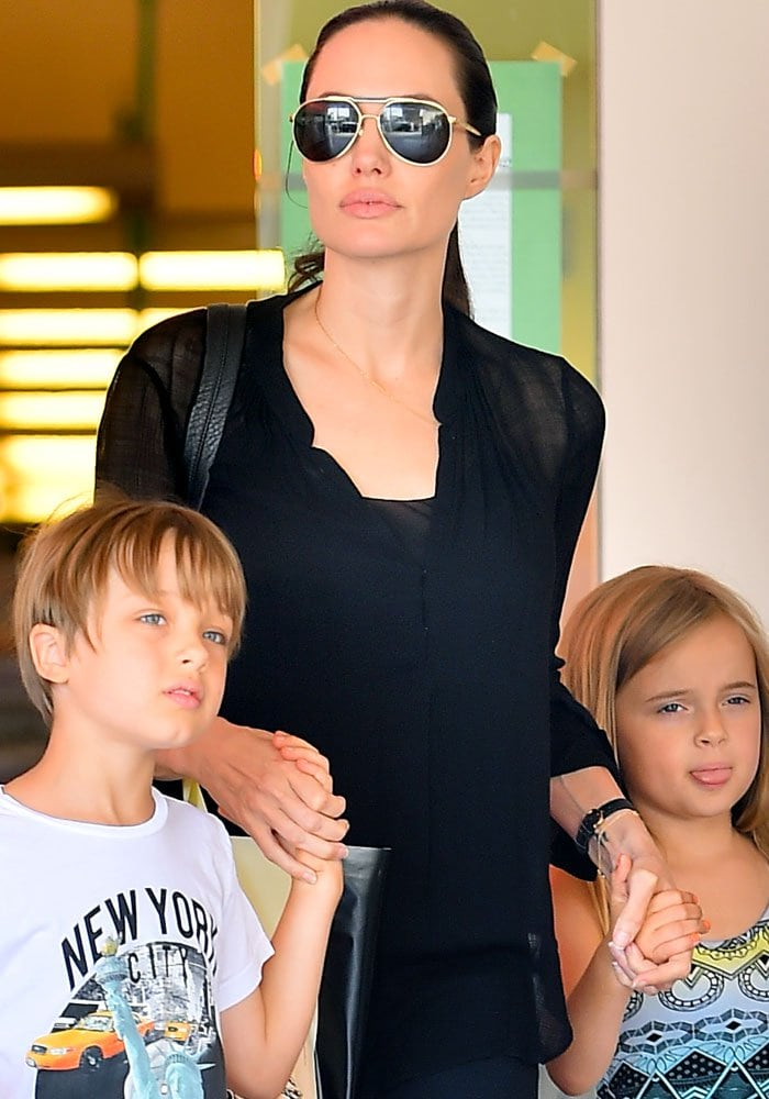 Angelina Jolie takes her children Knox and Vivienne shopping at Barnes & Noble
