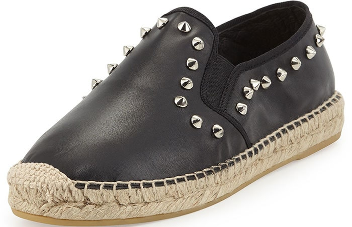 Ash Zest Espadrilles Studded Black Leather