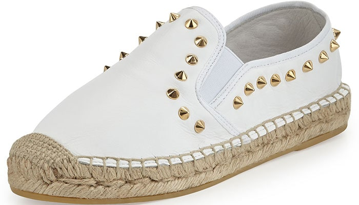 Ash Zest Espadrilles Studded White Leather
