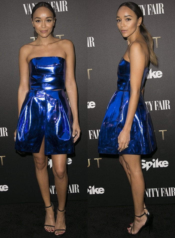 Ashley Madekwe paraded her legs at Vanity Fair and Spike's celebration of the new series 'TUT'