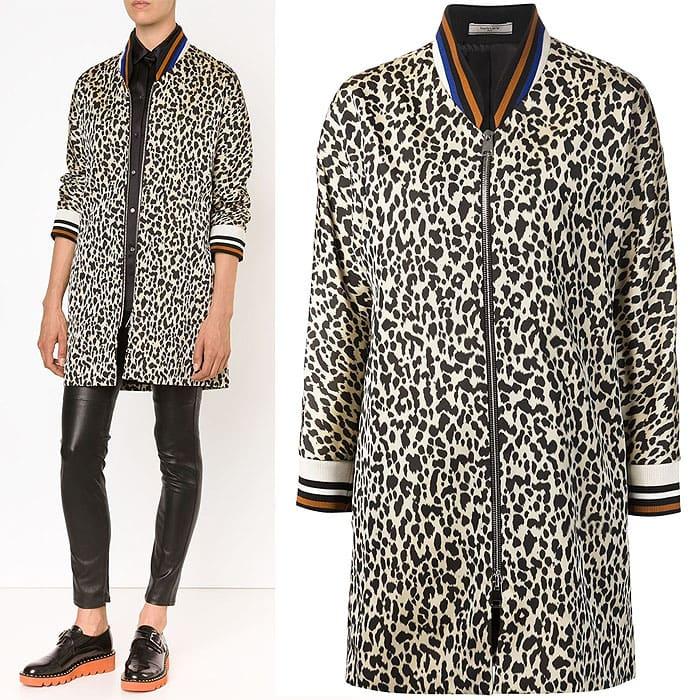 Bouchra Jarrar leopard print long bomber jacket