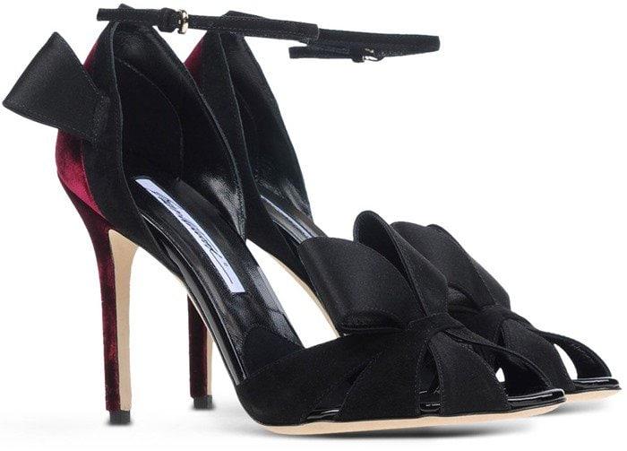Brian Atwood Black Velvet Bow Sandals