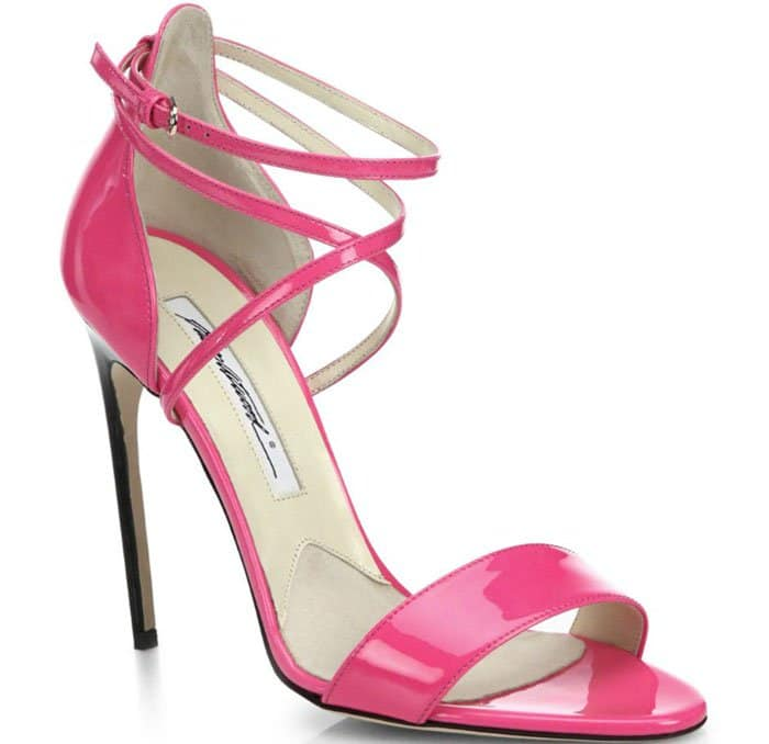 Brian Atwood Tamy Sandals Criss Cross Patent Leather
