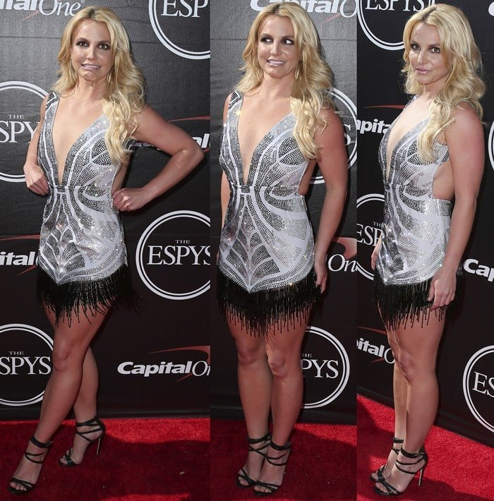 Britney Spears donned a sparkling mini silver dress from Davidson Zanine