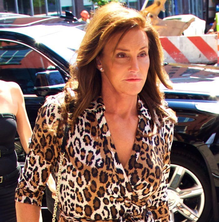 Caitlyn Jennersported a tight-fitting leopard print wrap dress from Diane von Furstenberg