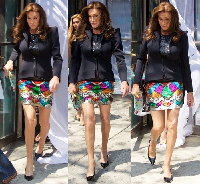 Caitlyn Jenner showed off her long legs in a rainbow sequined mini skirt styled with a dramatic black blazer