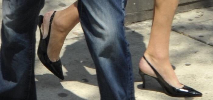 Caitlyn Jenner wearing black slingback pointy-toe pumps