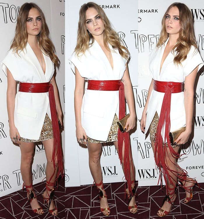 "Cara Delevingne in a chic white kimono-style blazer at the ""Paper Towns"" special screening"