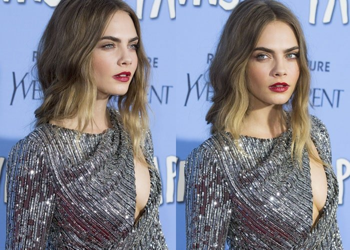 Cara Delevingne in a sideboob-baring dress by Yves Saint Laurent