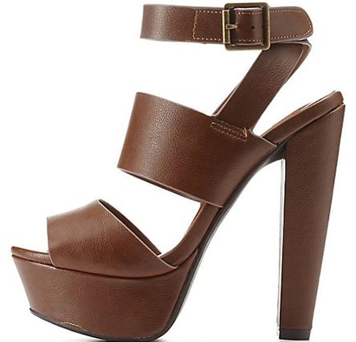 Charlotte Russe Ankle-Strap Platform Chunk Heels