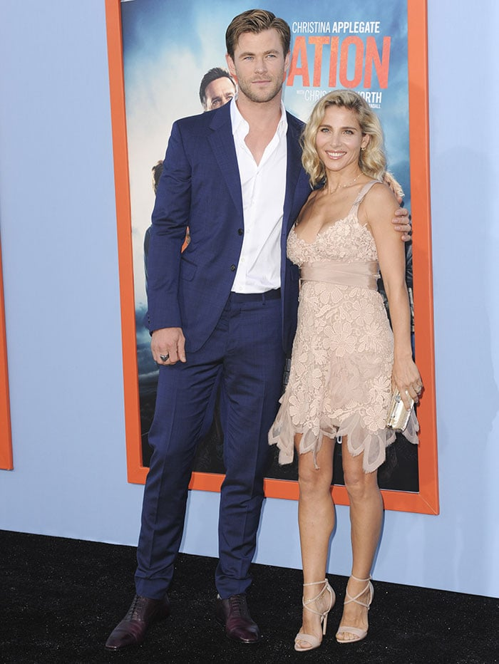 """Chris Hemsworth and Elsa Pataky pose for photos at the premiere of """"Vacation"""""""