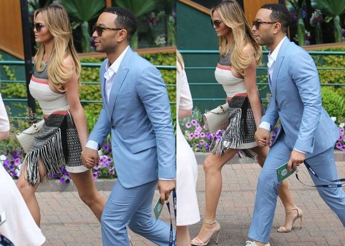 Chrissy Teigen and husband John Legend attend the2015 Wimbledon Championship in London on July 6, 2015