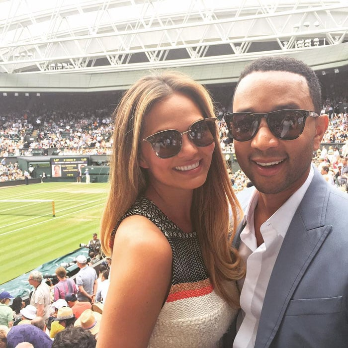 Chrissy Teigen and husband John Legend getting ready to see sisters Serena and Venus battle head-on