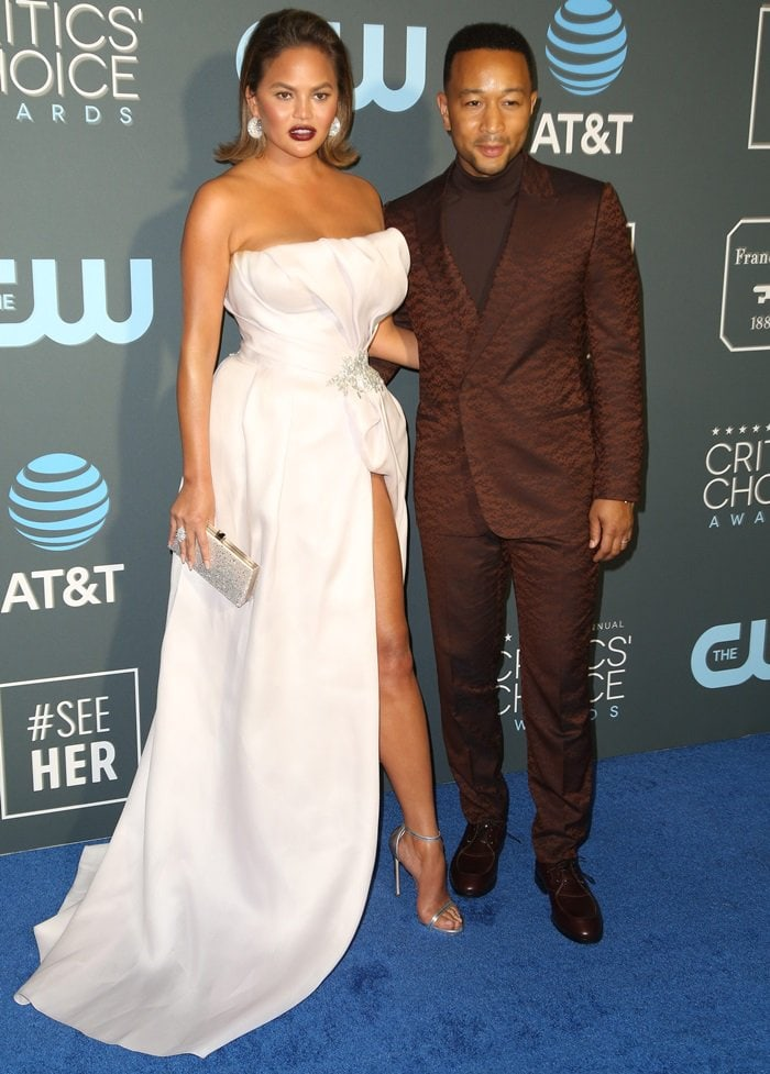 Chrissy Teigen and John Legend looking chic at the 2019 Critics' Choice Awards