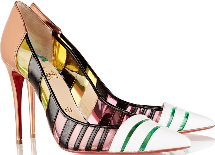 Christian Louboutin Bandy Striped Leather and PVC Pumps