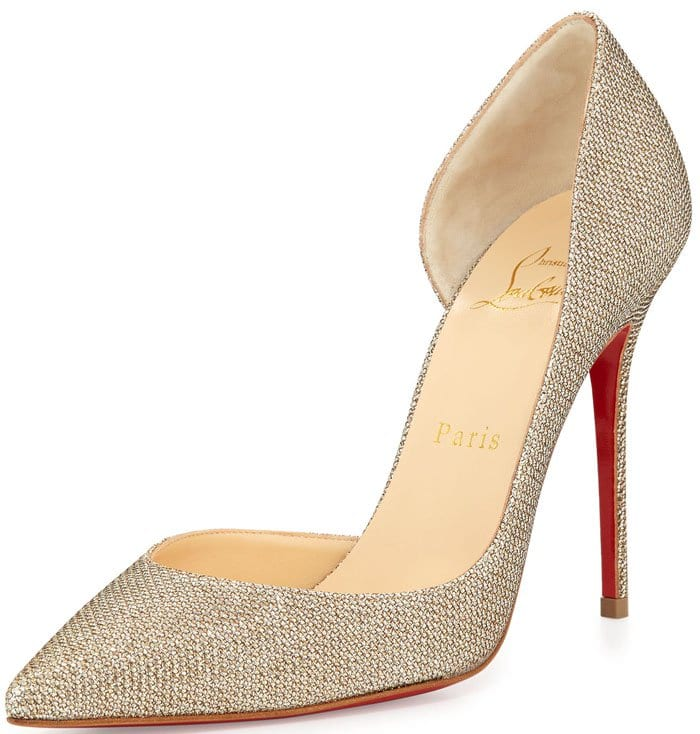 Christian Louboutin Iriza Half-d'Orsay Glitter Red Sole Pump in Gold