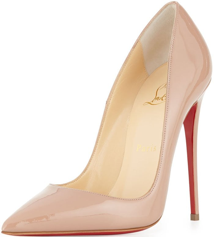 Christian Louboutin So Kate Patent Red Sole Pump in Nude