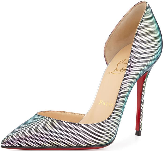 Christian Louboutin Iriza Iridescent Red Sole Pump in Digitale/Silver