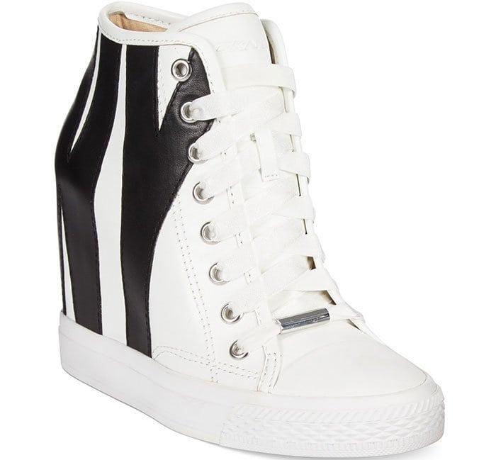DKNY Grommet Leather Wedge Sneakers