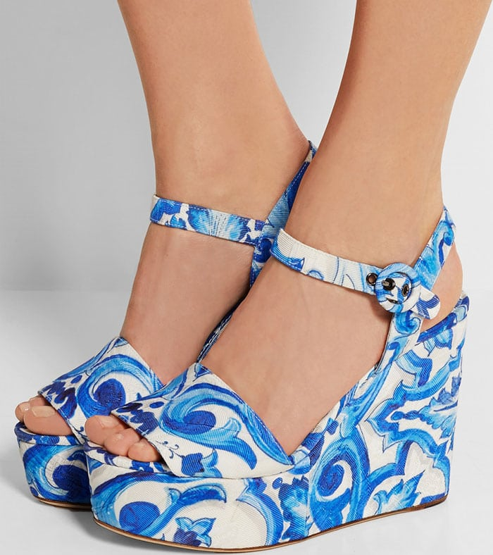 Dolce & Gabbana Printed Faille Wedge Sandals