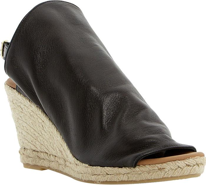 Dune Klarra Black Leather Wedges