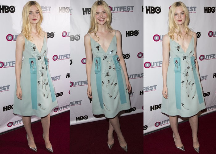 "Elle Fanning completed her look with silver Christian Louboutin ""Iriza"" pumps"