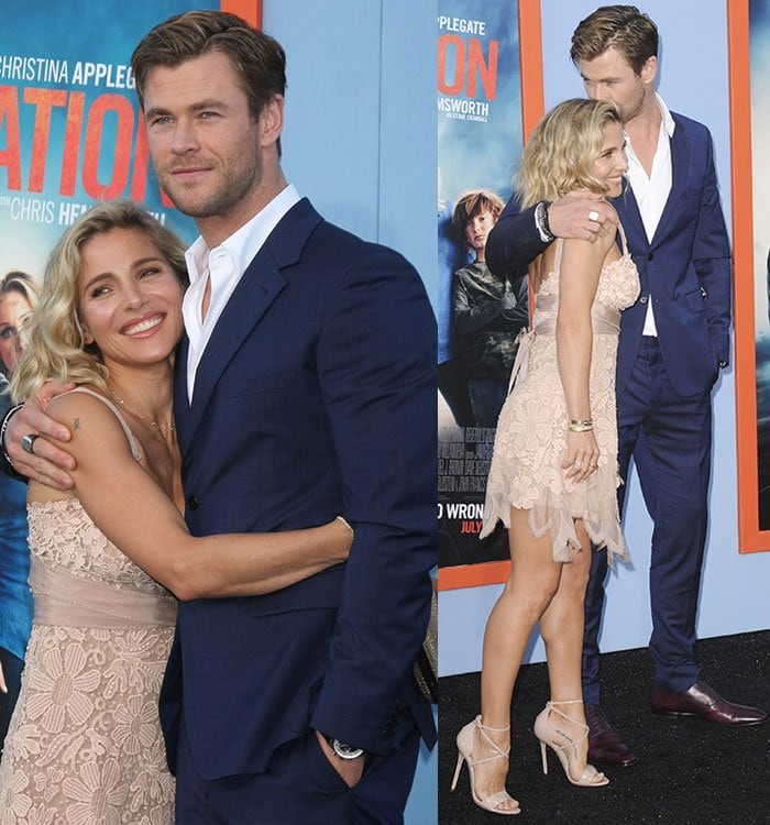 """Chris Hemsworth and Elsa Pataky cuddle up for photos at the premiere of """"Vacation"""""""