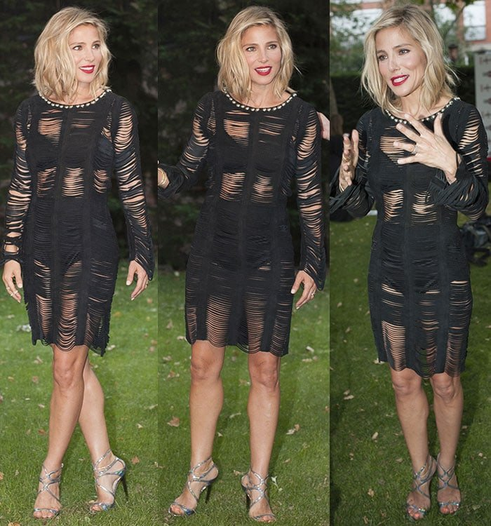 Elsa Pataky gestures for the camera at the 2015 Elle Gourmet Awards