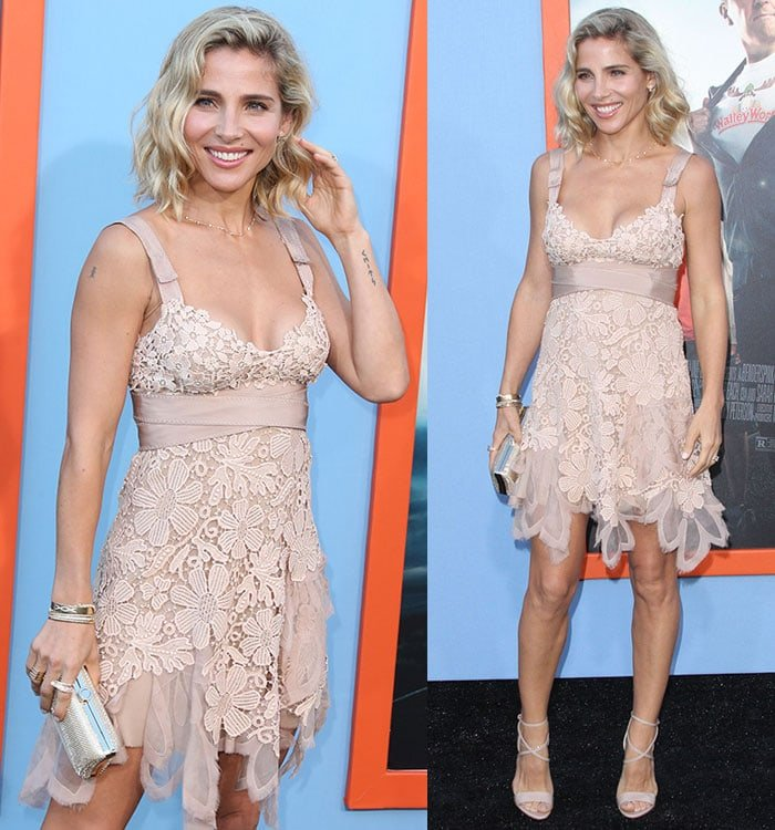 Elsa Pataky shows off her shoulder and wrist tattoos in a nude floral frock from Alberta Ferretti