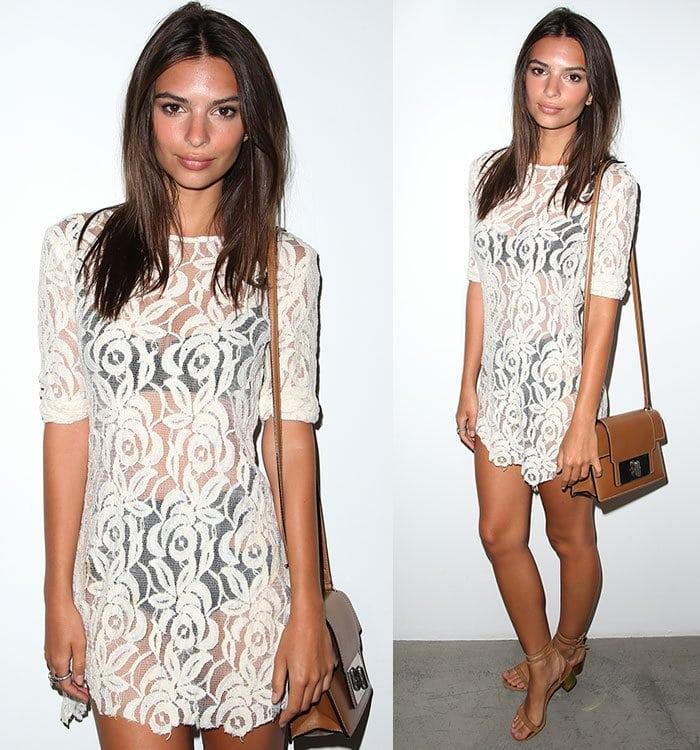 Emily-Ratajkowski-flashes-underwear-see-through-lace-dress