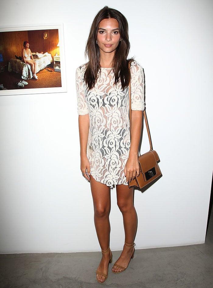 Emily-Ratajkowski-white-see-through-floral-lace-dress
