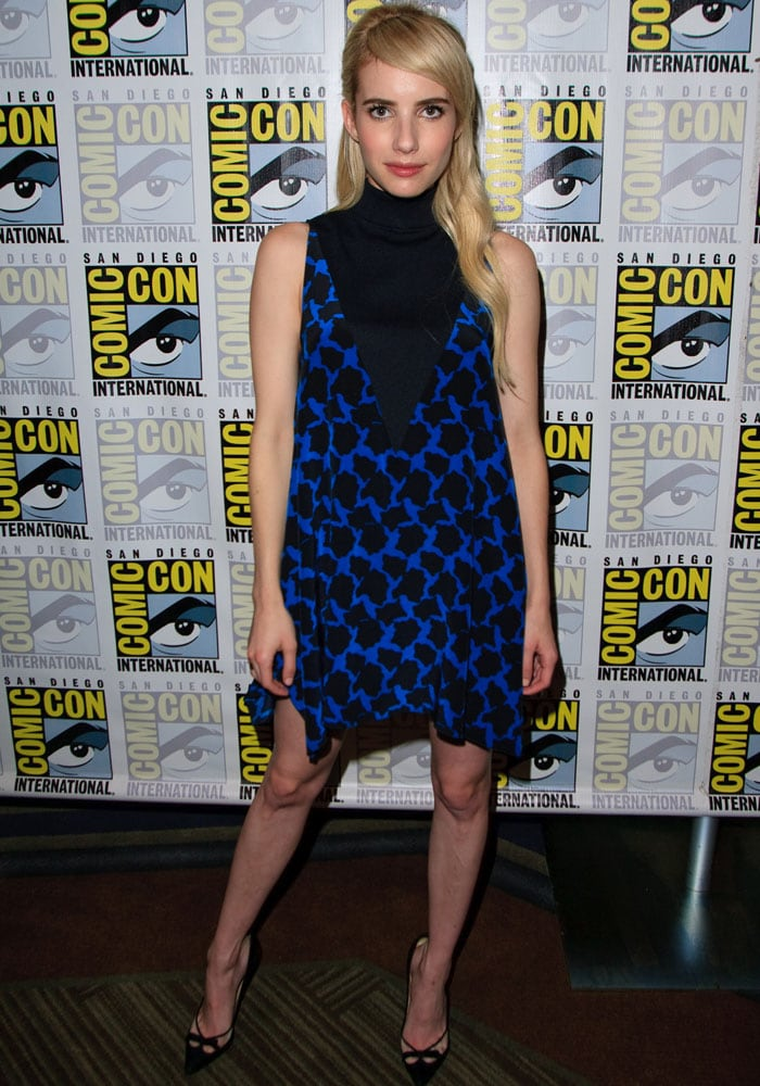 Emma Roberts flaunted her legs at the San Diego Comic-Con International 2015 for Scream Queens