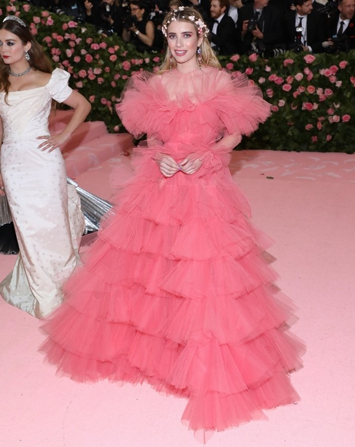 Emma Roberts donned a Giambattista Valli Haute Couture Spring 2019 gown at the 2019 Met Gala