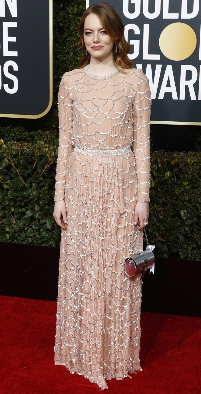 Emma Stone in Louis Vuitton at the 2019 Golden Globe Awards at the Beverly Hilton Hotel in Beverly Hills, California, on January 6, 2019