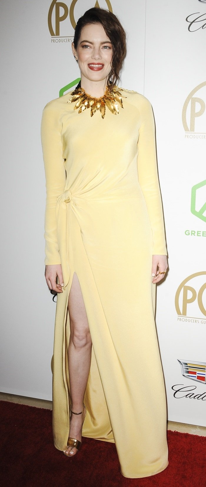 Emma Stone's pale yellow gown at the 2019 Producers Guild Awards at the Beverly Hilton Hotel in Beverly Hills, California, on January 19, 2019