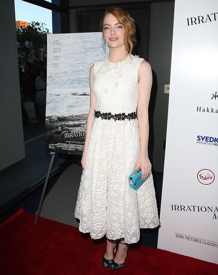 Emma Stone in a white ankle-length Giambattista Valli dress