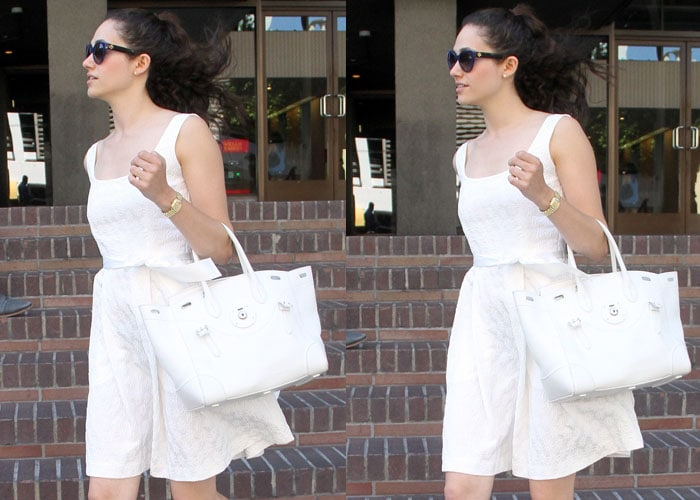 Emmy Rossum toted an oversized Ralph Lauren bag while shopping in Beverly Hills