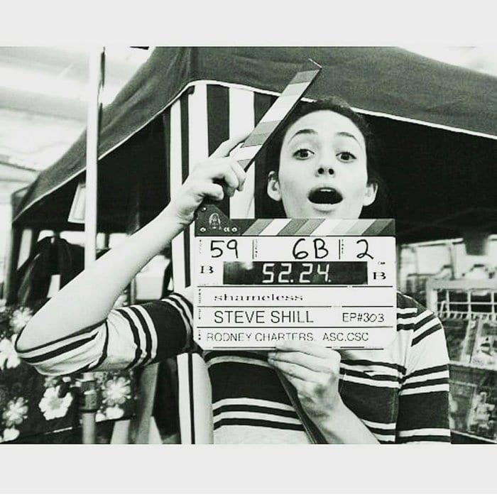 "Emmy Rossum goofing around on the set of ""Shameless"""